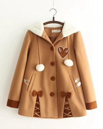 Hooded coat, chocolate chip cookie