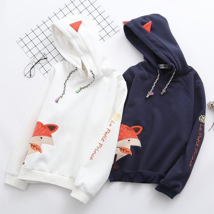 Japanese fox  cashmere warm sweater blue