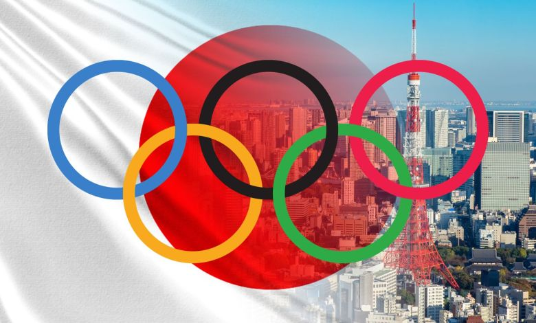 Japan. Olympics. Holding the Summer Olympic Games in Tokyo. Visiting the Olympics 2020. The rings of the Olympics on the background of Tokyo. Tokyo view from a quadcopter. IOC. Holidays in Japan