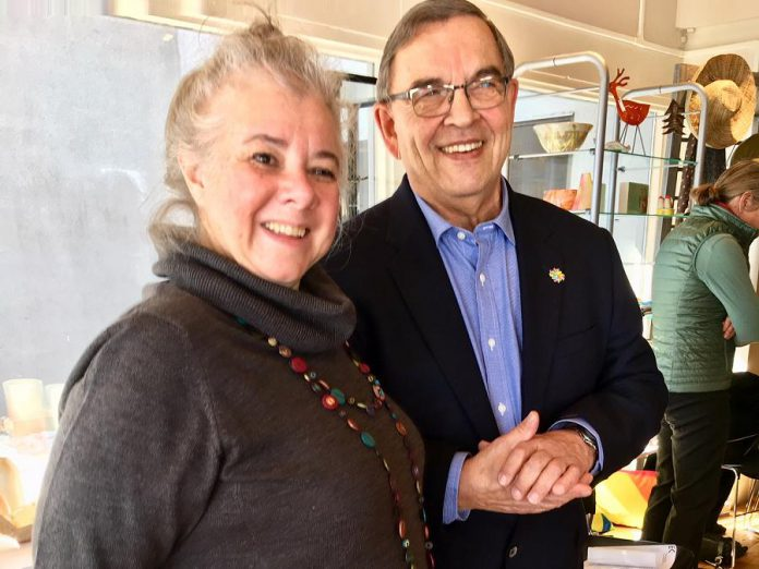 EC3 executive director Sue Ditta with awards champion Bill Lockington of LLF Lawyers at the announcement of the inaugural Peterborough Arts Awards, held March 15, 2018 at Art Gallery of Peterborough. (Photo: Tammy Thorne / kawarthaNOW.com)