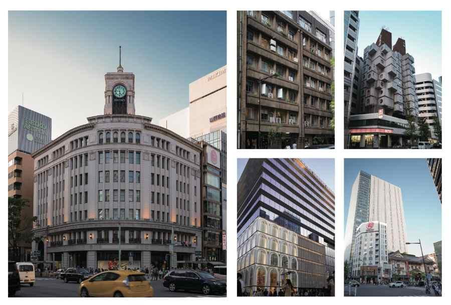 歴史に裏付けされた銀座の都市空間 銀座のシンボル、和光の時計塔は、MUSEEと同じ1932(昭和7)年竣工。緩やかな弧を描くネオ・ルネッサンス様式。設計は後に東京国立博物館本館を手がける渡辺仁。日本建築にモダニズムの波が押し寄せた昭和初期に、重厚華麗なネオ・ルネッサンス様式の姿を纏った理由は服部時計店図案部長、八木豊次郎の強いこだわりに由来する。伝統的な様式を踏襲しながらも新時代の感覚を反映させ、商号の「H」を刻んだレリーフなどディティールに配した。モボ、モガが闊歩する昭和の銀座と石造りのクラシカルな建物が見事に共存する景観が立ち現われた。MUSEEGINZAの建つ 昭和通りは、震災復興事業として計画、新しく建設された道路だ。原案では道幅を108メートルとするものであったが、広い道路の重要性が当時は受け入れられず、結果現在の道幅45メートルに狭められ1928 年(昭和3 年)完成。欧米に匹敵する都市景観を作り出そうと、中央の分離帯には植栽が施され、後に築地に移転する日本橋魚河岸の真ん中を突っ切った。 多摩美術大学環境デザイン学科の学生(岸本章 教授監修)によるMUSEE仮想リノベーションプラン。木挽町時代を彷彿とさせるエリアに、カフェ、シェアオフィス、ライブハウス、ヴィンテージカーのショールーム、個人住宅、浮世絵ミュージアム、植物プラントと、若い学生達がイノベーティブで個性的な提案を行った。建築というハードだけでなく、ソフト(ビジネスモデル)も真摯に考えられ、銀座の人々が心地よく回遊するMUSEEが示された。