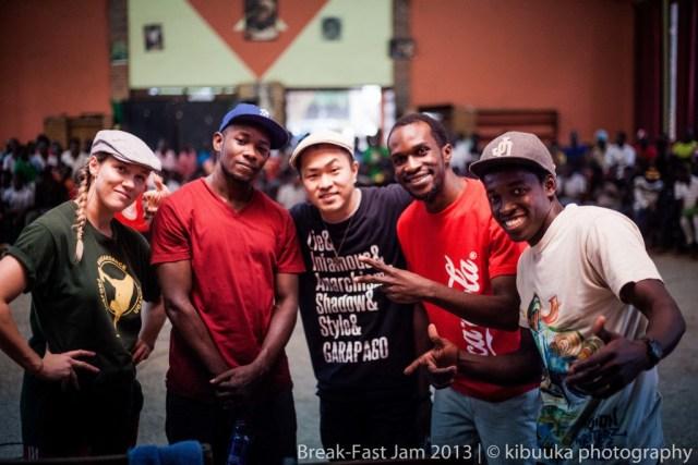 With Lady C, Abramz, Anijha and Felix at Break-Fast Jam 2013 Central eliminations. (Kampala, Uganda)