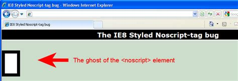 IE8 noscript ghost