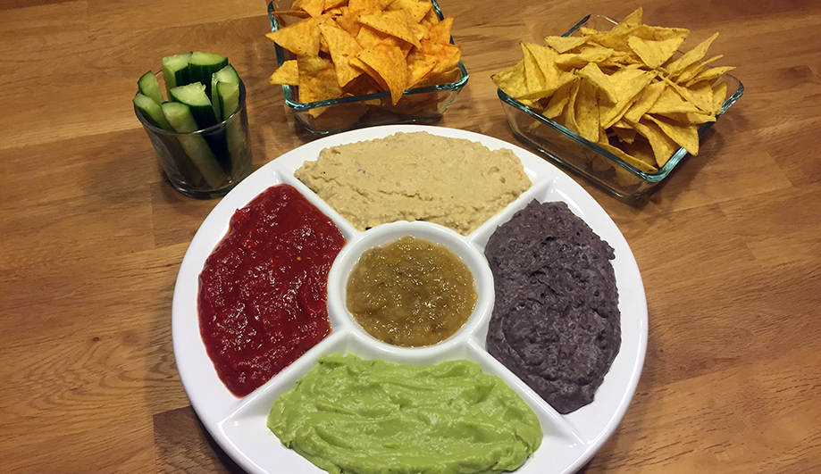 Glutenfreie Tortilla Party Dip Platte
