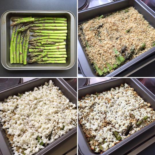 Gebackener grüner Spargel mit Feta und Walnüssen - Zubereitung