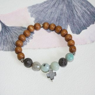Amazonite-Pyrite-Cross-Thai-Fine-Silver-Beads-Wood-Stretch-Bracelet-2