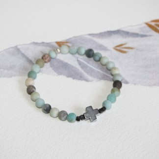 Frosted-Amazonite-Pyrite-Cross-Oxidised-Copper-Beads-Stretch-Bracelet-2