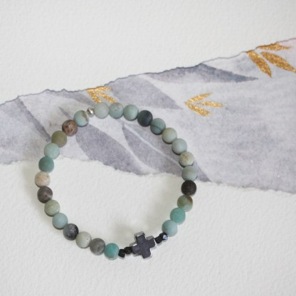 Frosted-Amazonite-Pyrite-Cross-Oxidised-Copper-Beads-Stretch-Bracelet-3