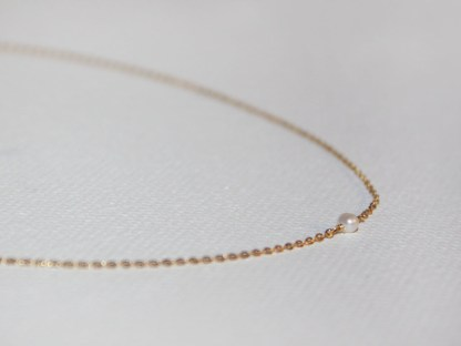 Delicate 14K Gold Fill Chain and Tiny Freshwater Pearl Necklace