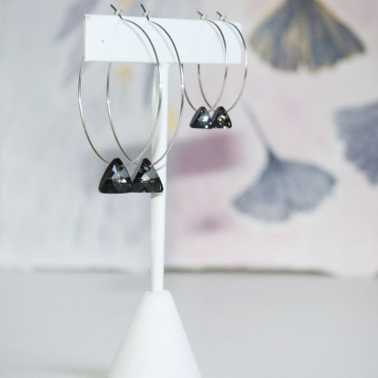 Large-Swarovski-Crystal-Silver-Night-Triangle-Sterling-Silver-Hoops-2
