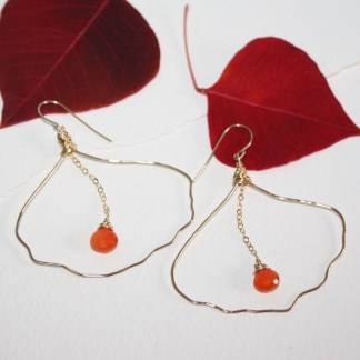 Orange-Carnelian-Hand-Hammered-Ginko-Leaf-Gold-Fill-Earrings-2