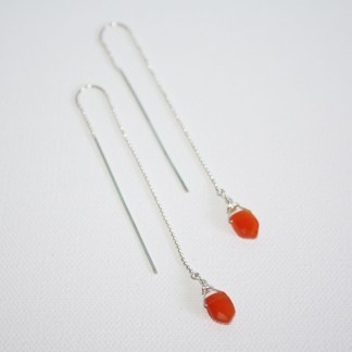 Orange-Carnelian-Arrow-Drops-Sterling-Silver-Long-Threaders-2