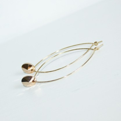 Swarovski-Crystal-Rose-Gold-Rivoli-Drop-Gold-Fill-Hand-Hammered-Earrings-3