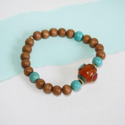 Tibetan Copal Bead, Magnesite & Wood Stretch Bracelet-1