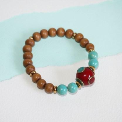 Tibetan Copal Bead, Magnesite & Wood Stretch Bracelet-2