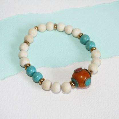 Tibetan Copal Bead, Magnesite & Wood Stretch Bracelet-3
