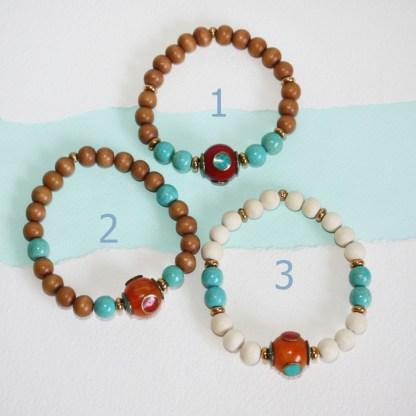 Tibetan Copal Bead, Magnesite & Wood Stretch Bracelet_choices