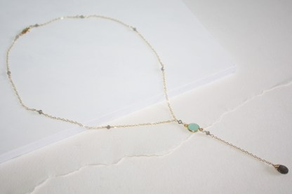Fire Labradorite and Seafoam Chalcedony Delicate 14K Gold Fill Y-Necklace