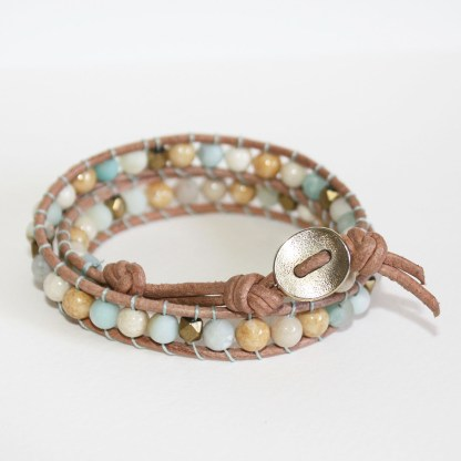 Mixed Gemstone Brass Beads and Keishi Pearl Double Wrap Leather Bracelet4
