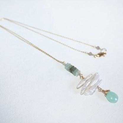 Peruvian Chalcedony and Aquamarine Necklace5