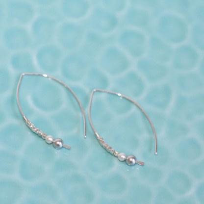Thai Fine Silver Faceted Beads & Swarovski Crystal Pearls Sterling Silver Arc Threader Earrings