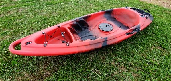 Closeup of red kayak