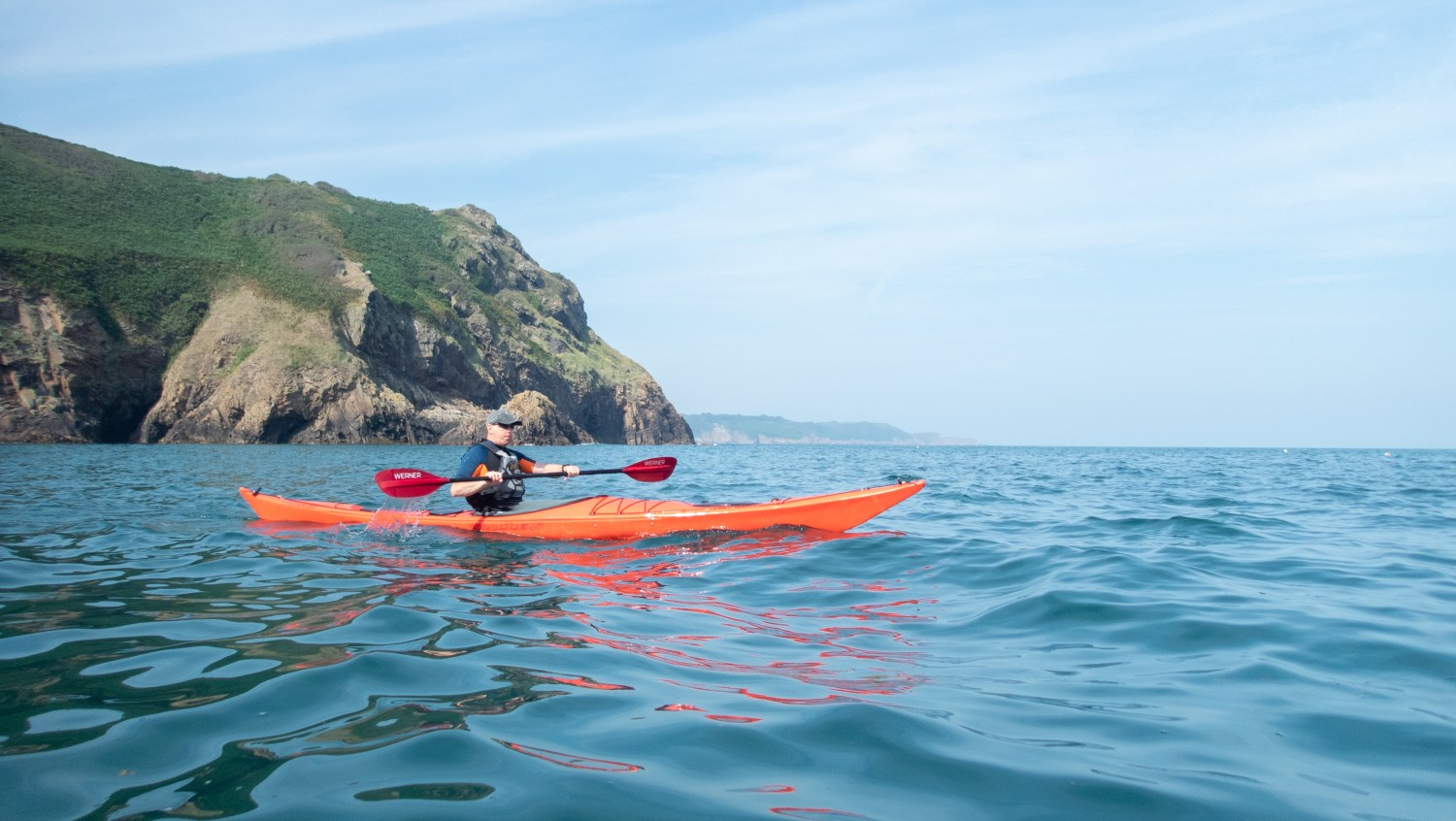 Photo of a day trip in Sea Kayak, North Coast, Jersey, Channel Islands.