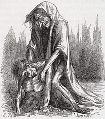 LAMIA - Queen of Libya. She splits open pregnant women to devour the children developing inside. Her name is derived from lamias, the evil female demons with dragon heads at the end of their feet found in deserts. They are also known to haunt cemeteries, devouring the corpses and leaving nothing but bones.