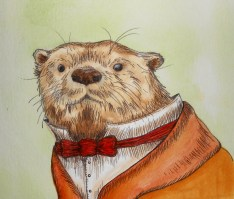 Drawing of Otter with a bow-tie by Kay De Garay