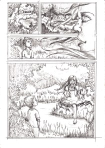 Comic page sketch by Kay De Garay