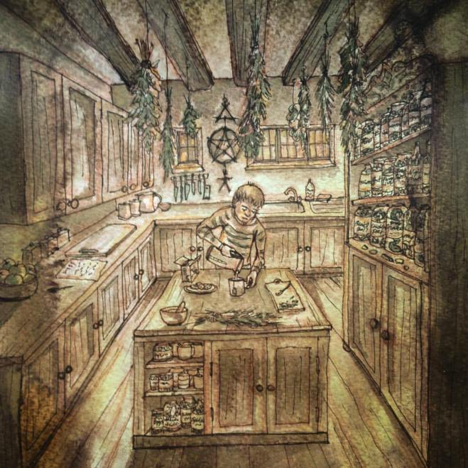 Pen & ink drawing - Witch's Kitchen