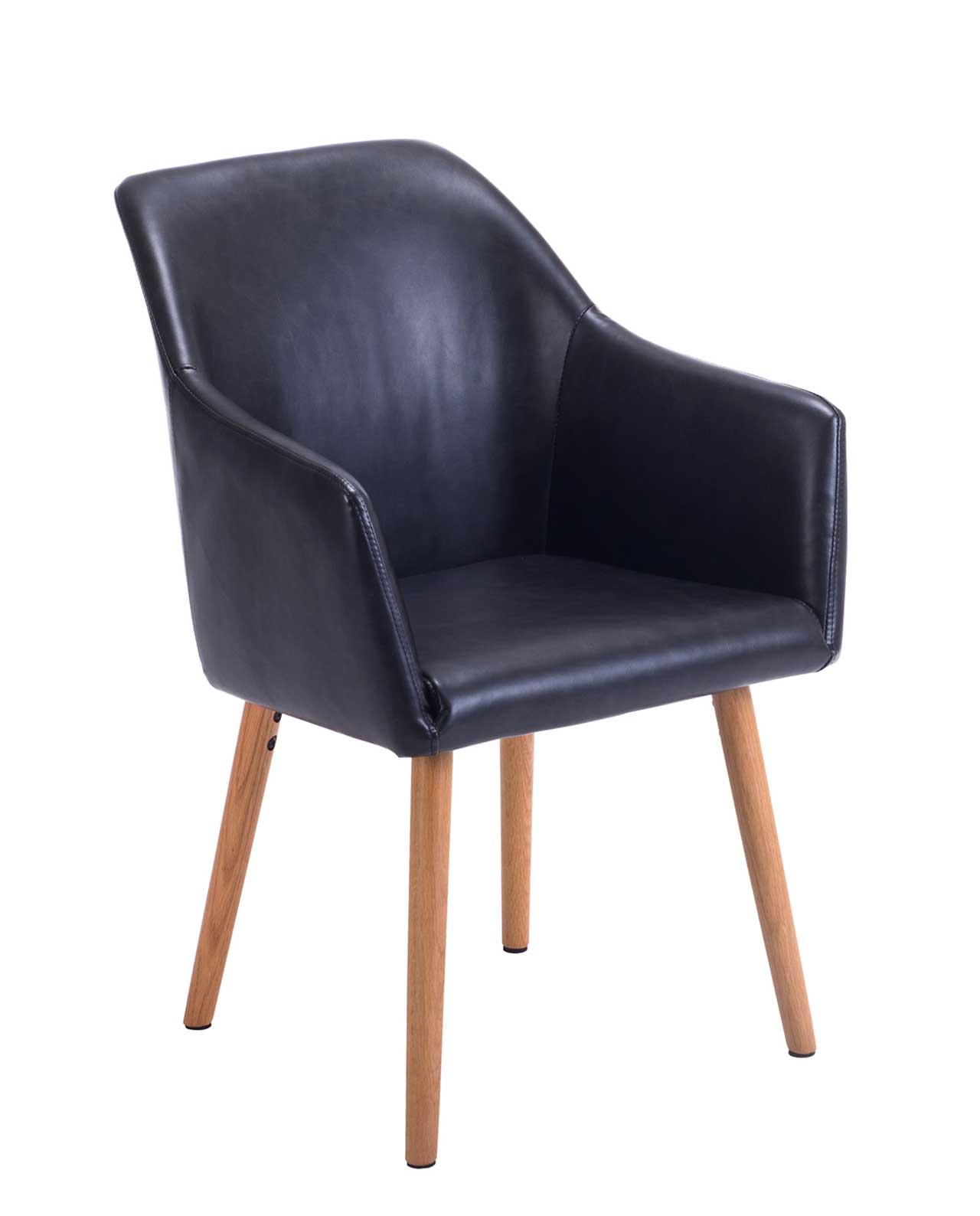 fauteuil visiteur simili cuir pieds chene dot