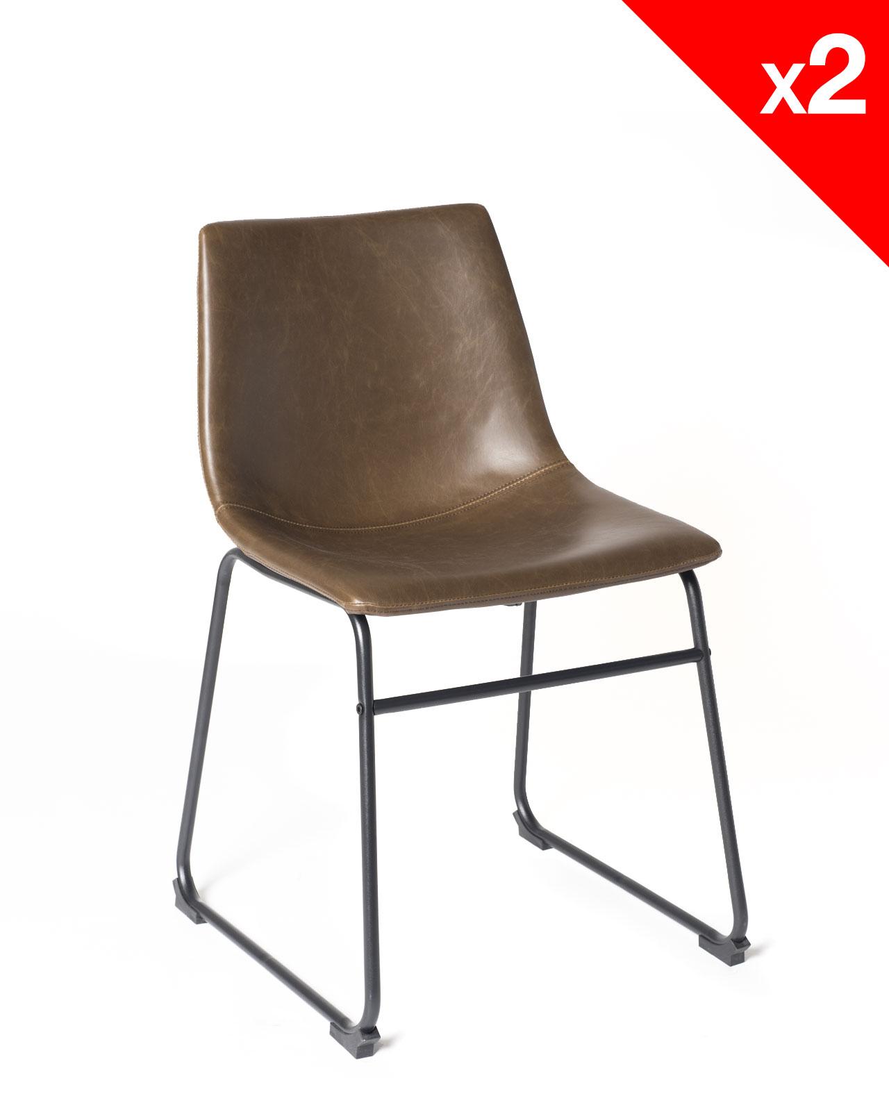 chaise de cuisine vintage helio47 pu marron kayelles