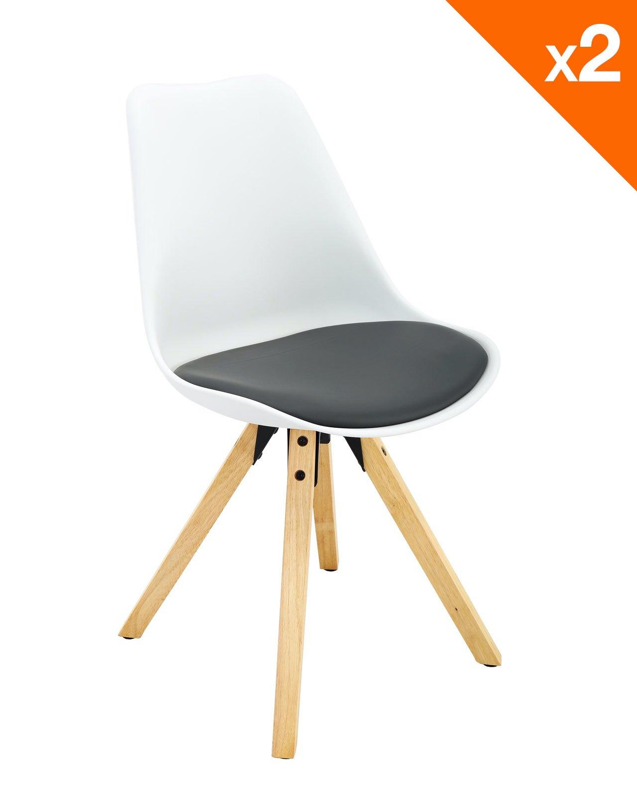 chaise scandinave avec coussin clea lot de 2