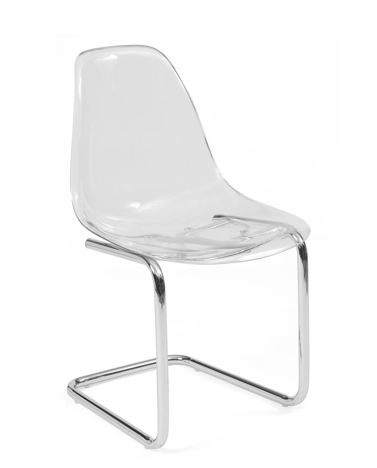 chaise transparente pied chrome meo lot de 2