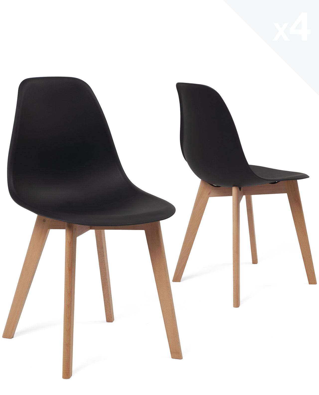 lot de 4 chaises scandinaves design nao