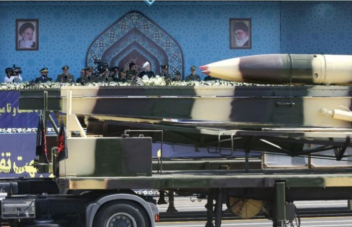 Missiles are displayed as Iranian President Hassan Rouhani attends an armed forces parade in Tehran, Iran, September 22, 2017. President.ir/Handout via REUTERS