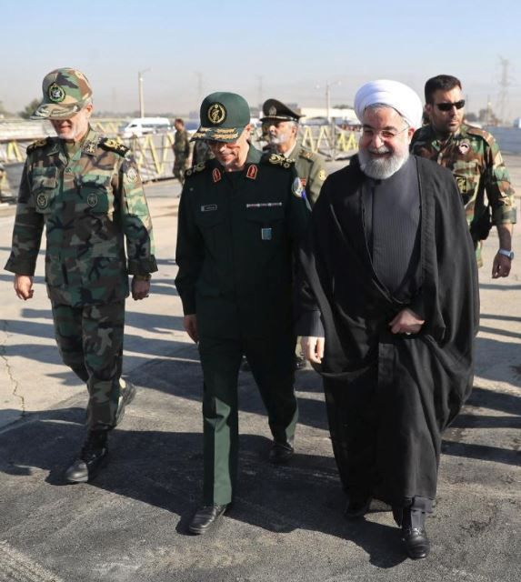 Iranian President Hassan Rouhani arrives to attend an armed forces parade in Tehran, Iran. REUTERS