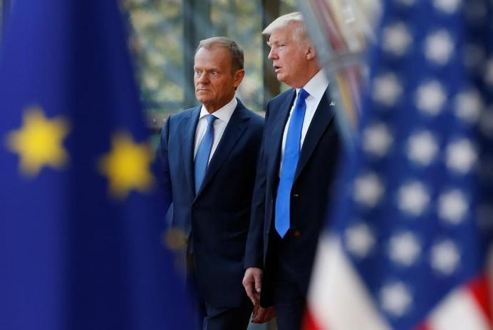 FILE PHOTO: Donald Trump with European Council President Donald Tusk. REUTERS./