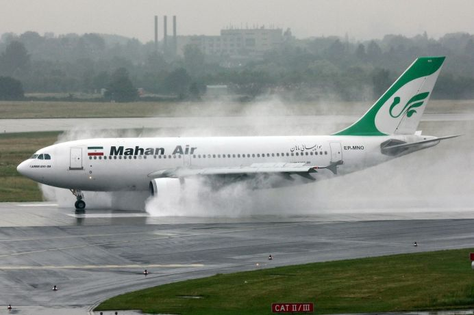 A Mahan Air Airbus A310 reverses in rainy weather at Düsseldorf (EDDL/DUS) 5 June 2011 Author:Lasse Fuss. Source: Wikimedia Commons