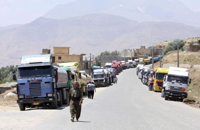FILE PHOTO: Fuel trucks are seen at Haj Umran border crossing with Iran, in northeastern Iraq. Reuters