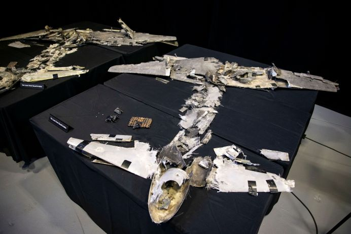 A U.S. Department of Defense exhibit shows a Qasef-1 drone that was recovered on April 11, 2018 by Saudi Arabia, at a military base in Washington, U.S., November 29, 2018. REUTERS/Al Drago