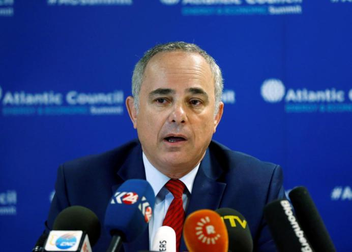 FILE PHOTO: Yuval Steinitz attends a news conference. REUTERS/Osman Orsal