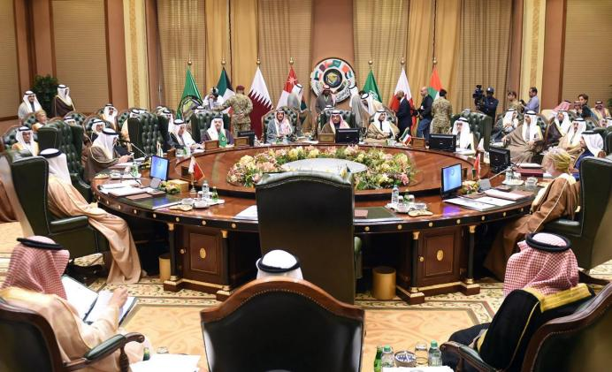 FILE PHOTO: Foreign Ministers of the Gulf Cooperation Council (GCC) attend a meeting in Bayan Palace, in Kuwait City, Kuwait. REUTERS/Assad Hani