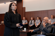 Judge Hamadani giving a speech after being sworn in at the Wake County Justice Center in 2017. Photo credit: Sam Hamadani.