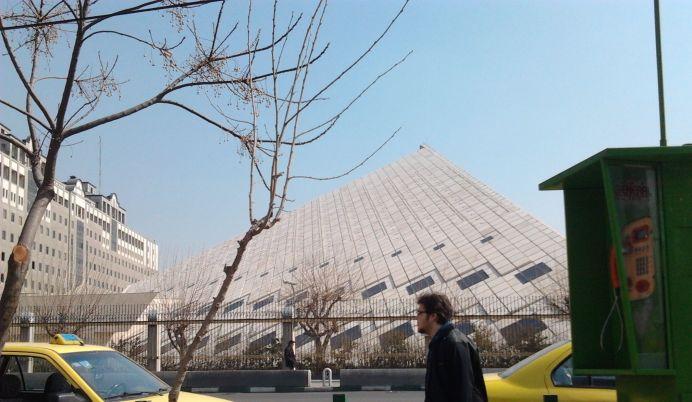 Parliament of Iran building.Source: Baharestan St.:Date 27 Feb 2012:Author QSTA.Wikimedia Commons