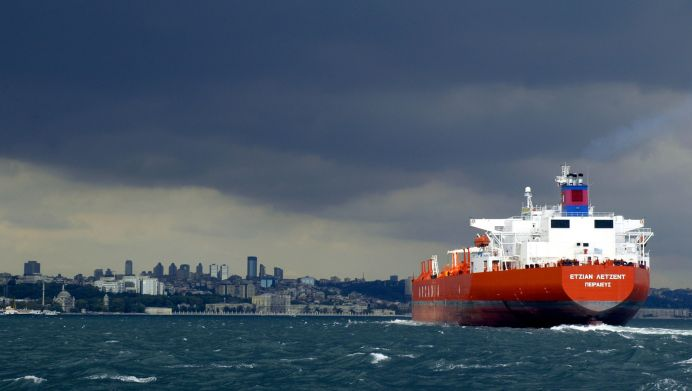 FILE PHTO: A tanker sails over the Bosphorus. REUTERS