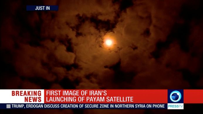 FILE PHOTO: The Payam satellite is seen in the sky after it was launched in Iran, January 15, 2019, in this still image taken from video. REUTERS./