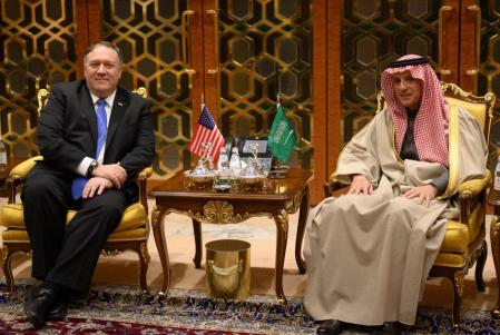 FILE PHOTO: U.S. Secretary of State Mike Pompeo meets with Saudi's Minister of State for Foreign Affairs Adel al-Jubeir upon his arrival in Riyadh, Saudi Arabia January 13, 2019. Reuters