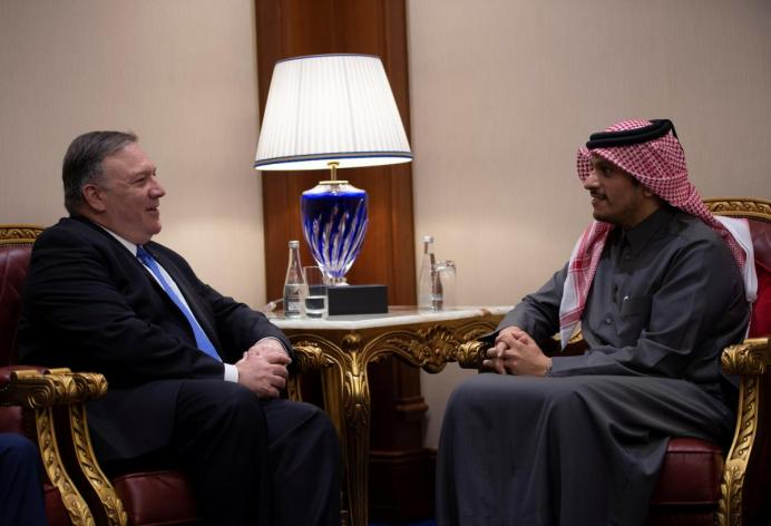 U.S. Secretary of State Mike Pompeo talks with Mohammed bin Abdulrahman bin Jassim Al Thani, the Deputy Prime Minister and Qatari Minister of Foreign Affairs, at the Sheraton Grand in the Qatari capital Doha, Qatar January 13, 2019. Andrew Caballero-Reynolds/Pool via Reuters